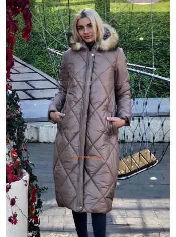 """Длинная зимняя женская куртка с меховым капюшоном """"Сара"""""""