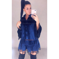 Женское бархатное платье рубашка