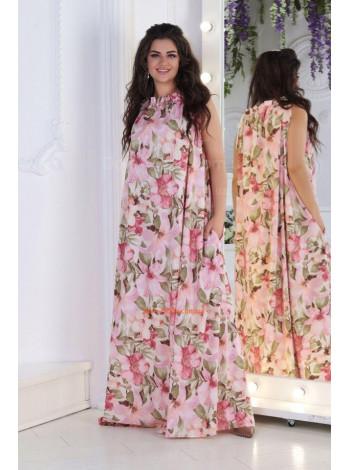 Летнее длинное платье с цветочным принтом