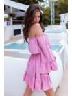 Женское летнее платье с открытыми плечами и поясом