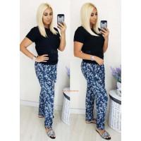 Літні жіночі штани зі штапелю з принтом: норма и батал