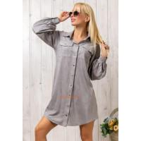 Короткое стильное замшевое платье рубашка
