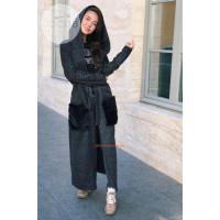 Модный длинный кардиган с меховыми карманами