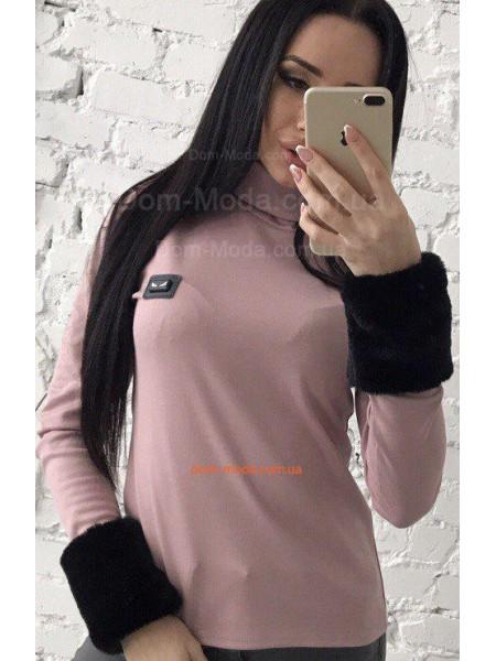Женский гольф с мехом на рукавах