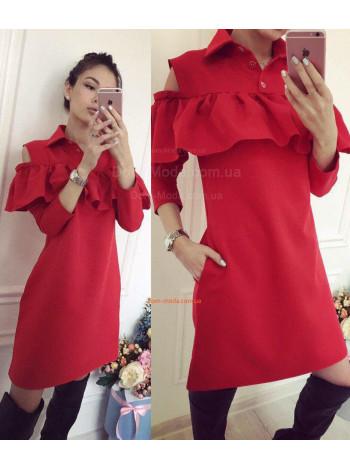 Женское короткое платье рубашка с воланом