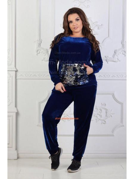 Спортивный велюровый костюм большого размера с пайеткой