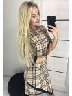 Коротке жіноче плаття футляр в клітинку