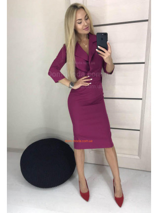 Женское деловое платье миди с рукавом