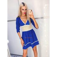 Короткое стильное женское платье в горох