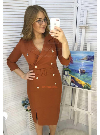 Женское платье футляр с пуговицами  большого размера
