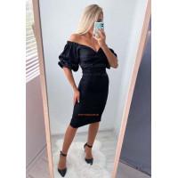 Черное облегающее платье с объемными рукавами