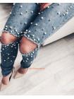 Рваные джинсы с бусинами для женщин