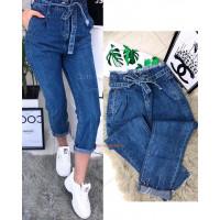 Женские стильные укороченные джинсы с завышенной посадкой