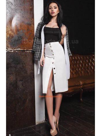 Женская белая юбка с пуговицами спереди