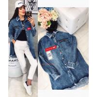 Модная удлиненная джинсовая куртка женская