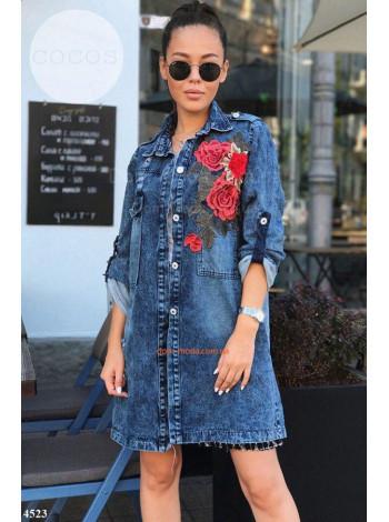 Жіноча подовжена джинсовка з трояндами