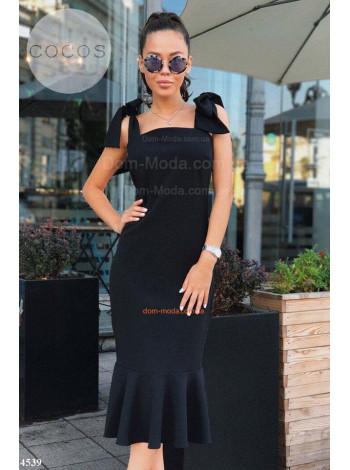 Коктельне літнє плаття з воланом внизу