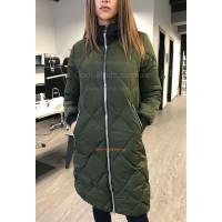 Удлиненная зимняя куртка холлофайбер хаки и черный