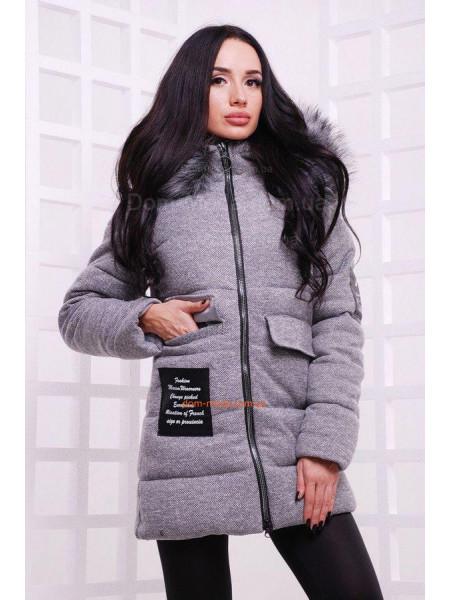 Сіра зимова куртка жіноча