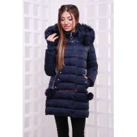 Синяя зимняя куртка с холлофайбером