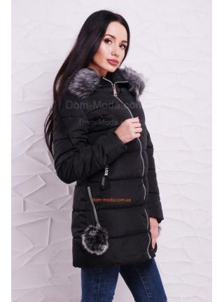 Зимняя куртка с помпонами на карманах