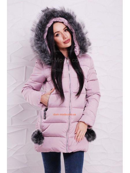Зимова куртка з помпонами на кишенях