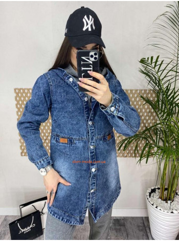 Женская модная джинсовая удлиненная куртка