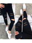 Женские джинсы с дырками черные