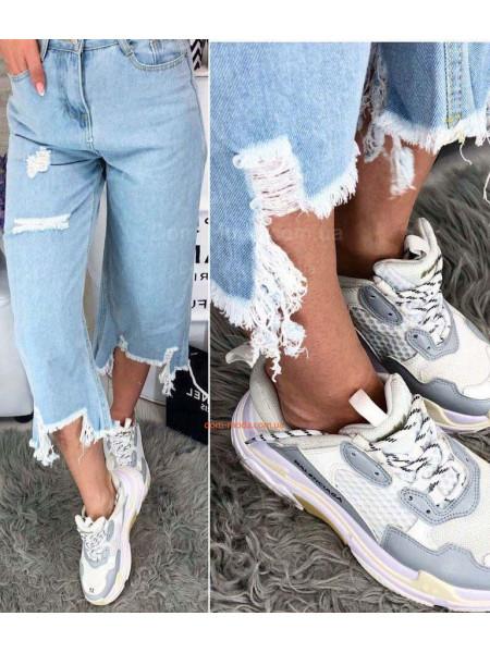 Женские стильные укороченные бриджи джинсы
