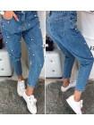 Женские модные джинсы с бусинками