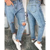 Молодежные женские джинсы бойфренды с дырками