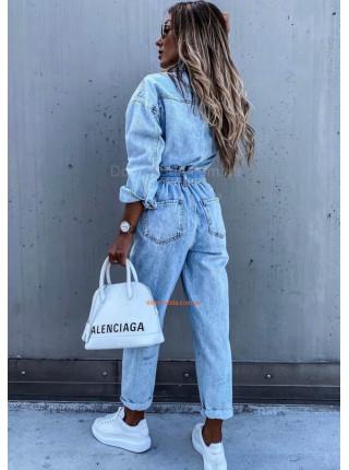 Женский комбинезон джинсовый с длинным рукавом