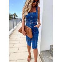 Модный женский сарафан джинсовый на лето