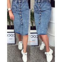Модная джинсовая юбка миди на пуговицах