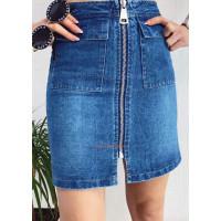 Коротка джинсова юбка з блискавкою спереду