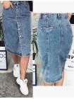 Женская джинсовая юбка миди на пуговицах