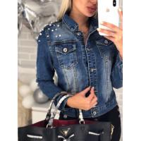 Жіноча джинсова куртка з перлами