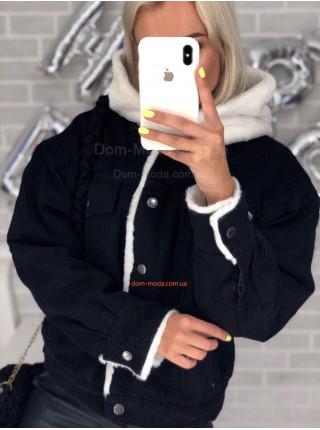 Джинсовая куртка на меху с капюшоном