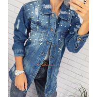 Женская удлиненная джинсовая куртка