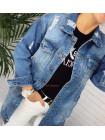 Жіноча подовжена джинсова куртка з дірками