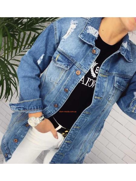 Женская удлиненная джинсовая куртка с дырками