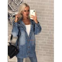 Подовжена джинсова куртка жіноча