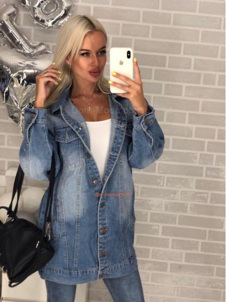 Удлиненная джинсовая куртка женская
