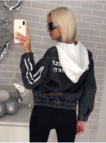 Женская джинсовая куртка с принтом на спине