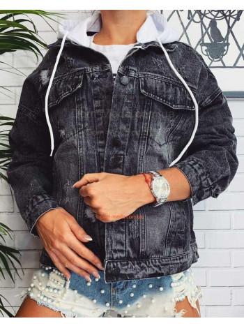 Женская черная джинсовая куртка с капюшоном