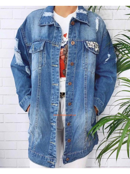 Длинная женская джинсовая куртка
