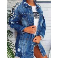 Женская удлиненная джинсовая куртка с жемчугом