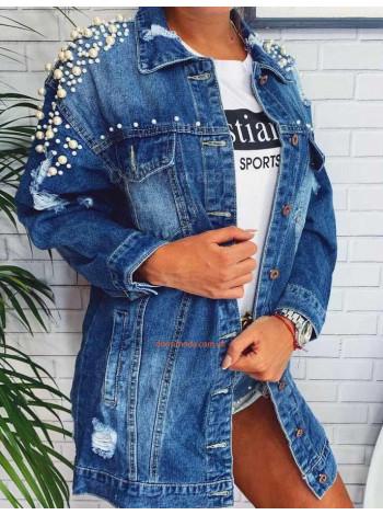 Жіноча подовжена джинсова куртка з перлами