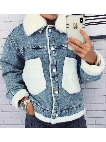 Джинсовая куртка на меху женская