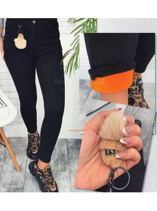 Черные утепленные джинсы женские